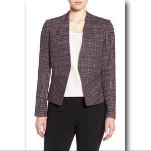 Halogen Structured Tweed Jacket Flared Peplum Hem